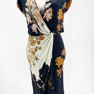 Etro Milano Womens Twisted Faux Wrap Dress Blue M
